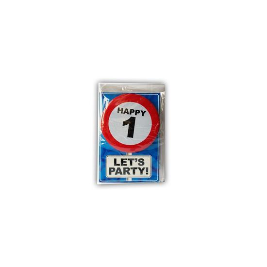 Image of 1 jaar ansichtkaart met button