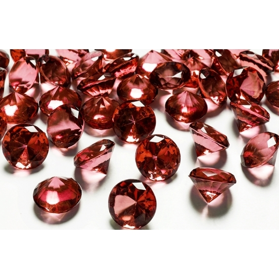 Image of 10 decoratie diamantjes rood 2 cm