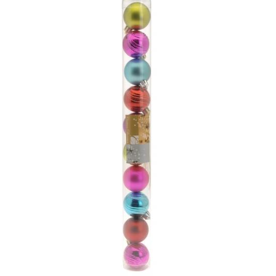 Image of 10 gekleurde kerstballen glanzend en mat