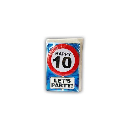 Image of 10 jaar ansichtkaart met button