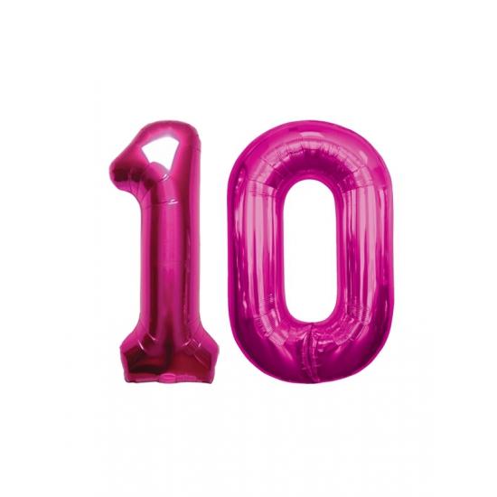 Image of 10 jaar folie ballonnen roze