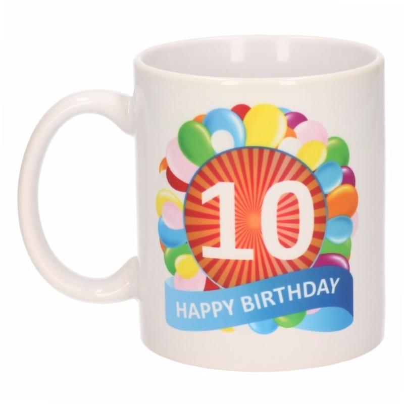 Image of 10 jaar verjaardag ballon thema theemok 300 ml