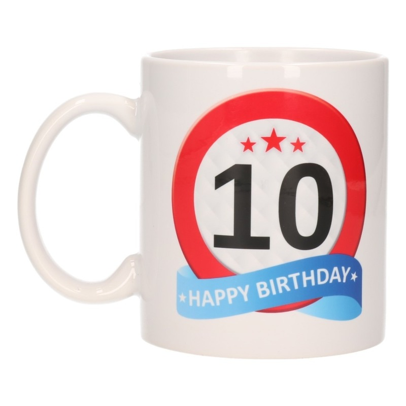 Image of 10 jaar verjaardag verkeersbord theemok 300 ml