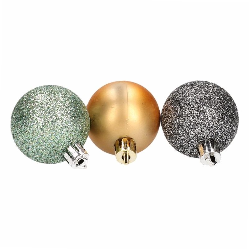 Image of 10 kerstballen glitters en mat groen