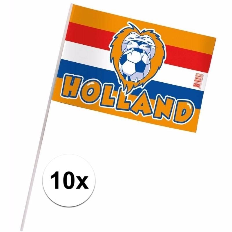 10 Oranje zwaaivlaggetjes Holland