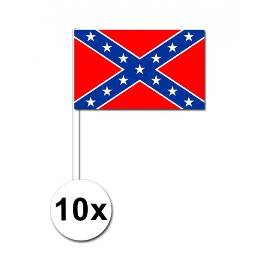 Image of 10 papieren zwaaivlaggetjes Confederatie