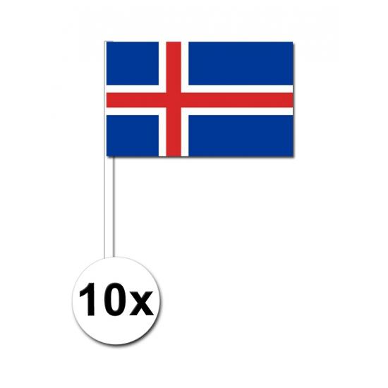 Image of 10 papieren zwaaivlaggetjes IJsland 12 x 24 cm