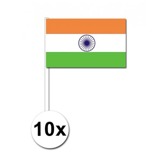 Image of 10 papieren zwaaivlaggetjes India 12 x 24 cm