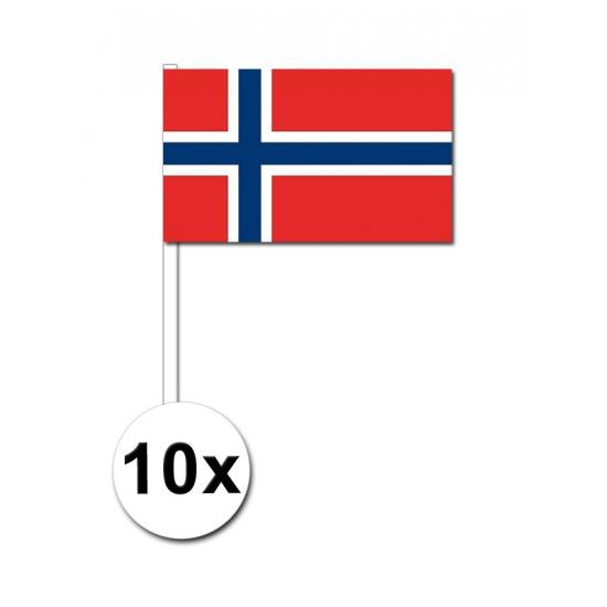 Image of 10 papieren zwaaivlaggetjes Noorwegen