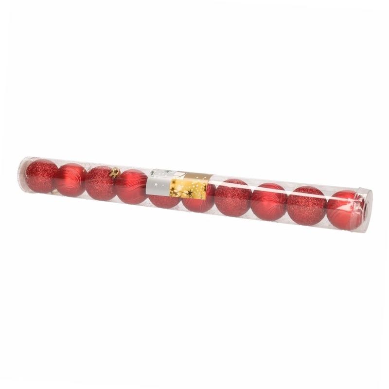 Image of 10 rode kerstballen glitter en mat