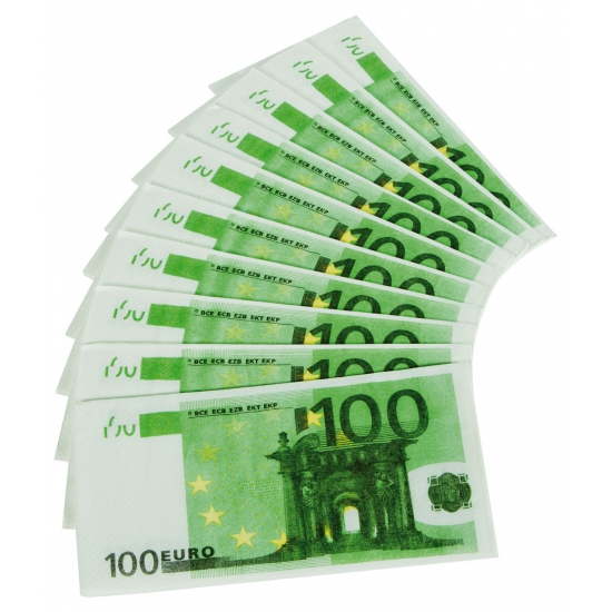 Image of 100 Euro biljetten servetten