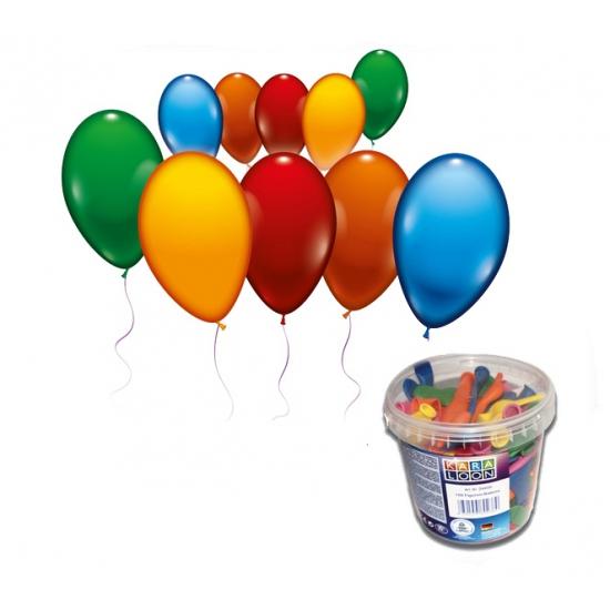 Image of 100 gekleurde ballonnetjes in emmer