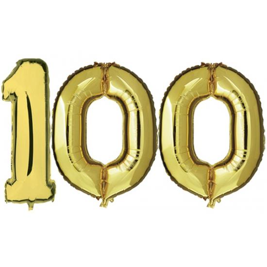 Image of 100 jaar folie ballonnen goud