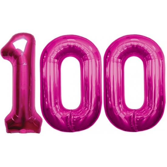 Image of 100 jaar folie ballonnen roze