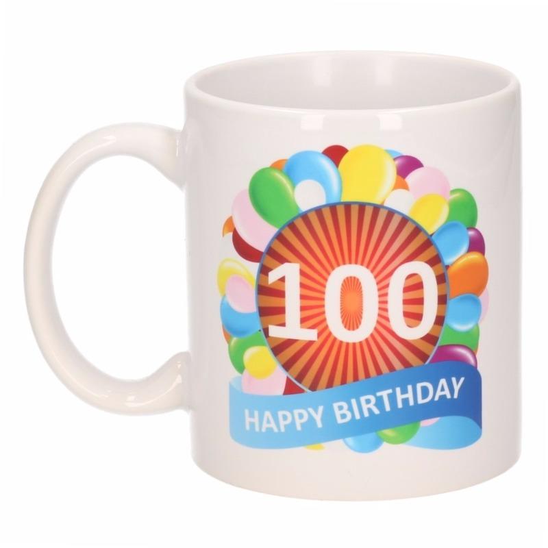 Image of 100 jaar verjaardag ballon thema theemok 300 ml