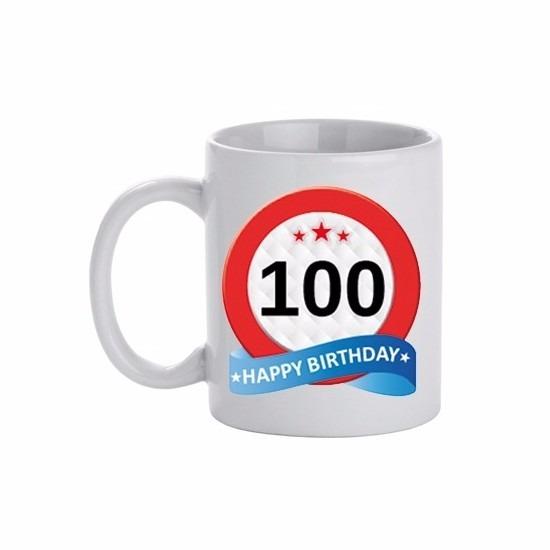 Image of 100 jaar verjaardag verkeersbord theemok 300 ml