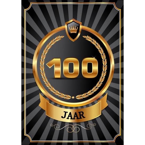 Image of 100 jaar zwart met goud poster
