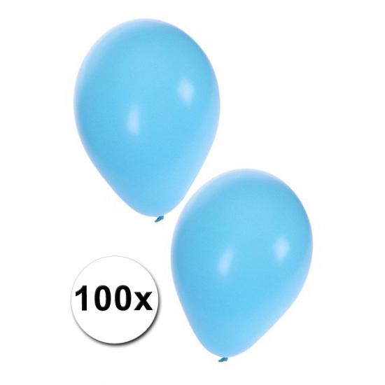 Image of 100 lichtblauwe carnavals ballonnen
