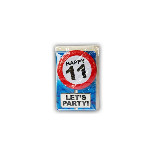 Image of 11 jaar ansichtkaart met button