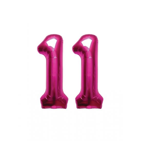 Image of 11 jaar folie ballonnen roze