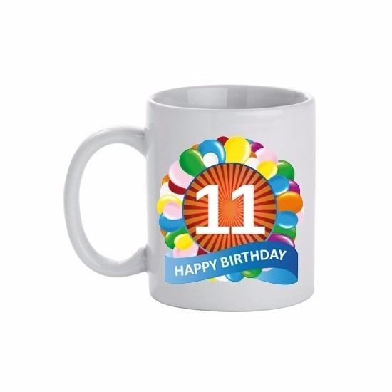 Image of 11 jaar verjaardag ballon thema theemok 300 ml
