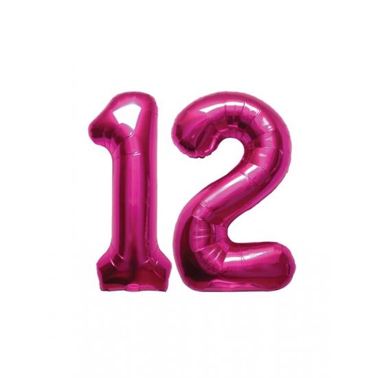 Image of 12 jaar folie ballonnen roze