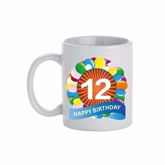 Image of 12 jaar verjaardag ballon thema theemok 300 ml
