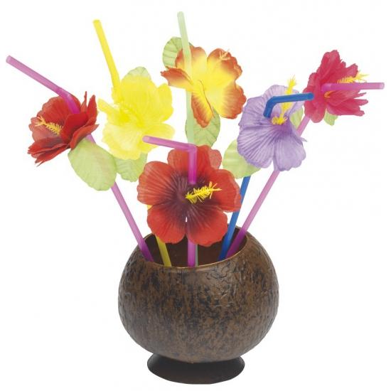 Image of 12 rietjes met hawaii bloemen