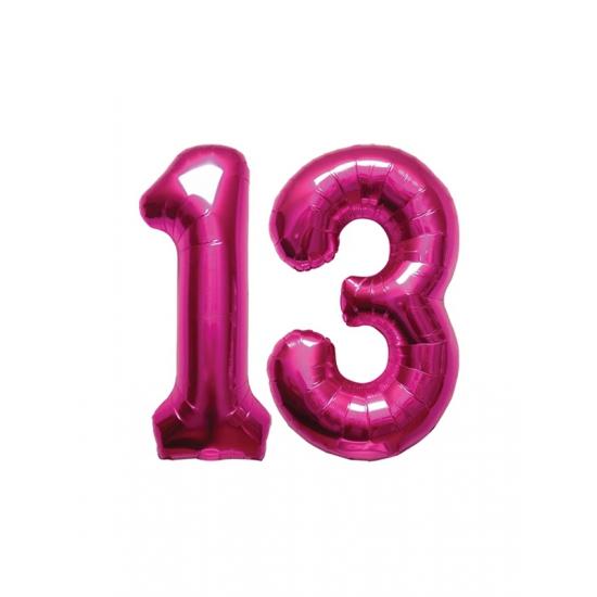 Image of 13 jaar folie ballonnen roze