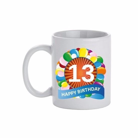 Image of 13 jaar verjaardag ballon thema theemok 300 ml