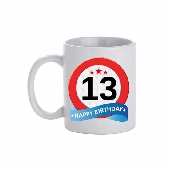 Image of 13 jaar verjaardag verkeersbord theemok 300 ml