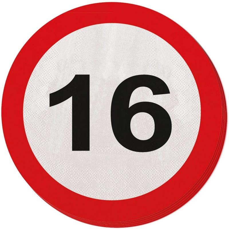 Image of 16 jaar servetjes verkeersborden
