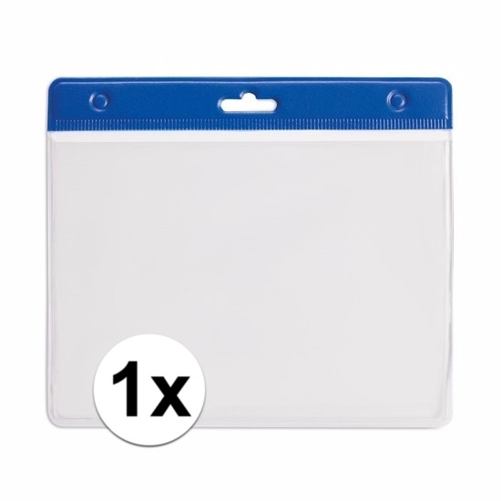 Image of 1x badgehouder / kaarthouder voor aan keycord 11,2 x 58 cm blauw