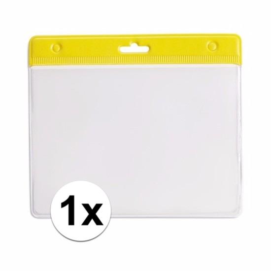 Image of 1x badgehouder / kaarthouder voor aan keycord 11,2 x 58 cm geel