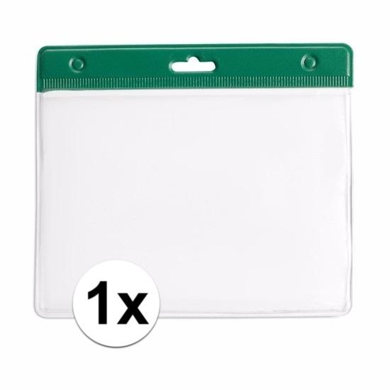 Image of 1x badgehouder / kaarthouder voor aan keycord 11,2 x 58 cm groen