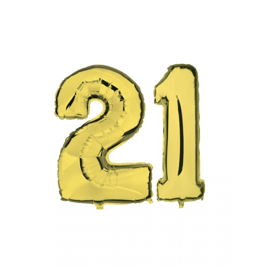 Image of 21 jaar folie ballonnen goud