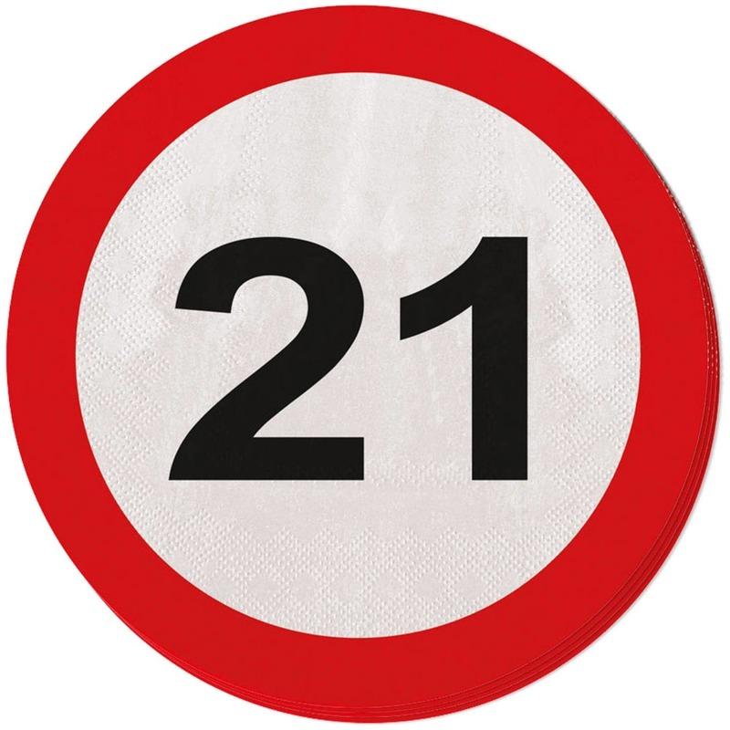 Image of 21 jaar servetjes verkeersborden