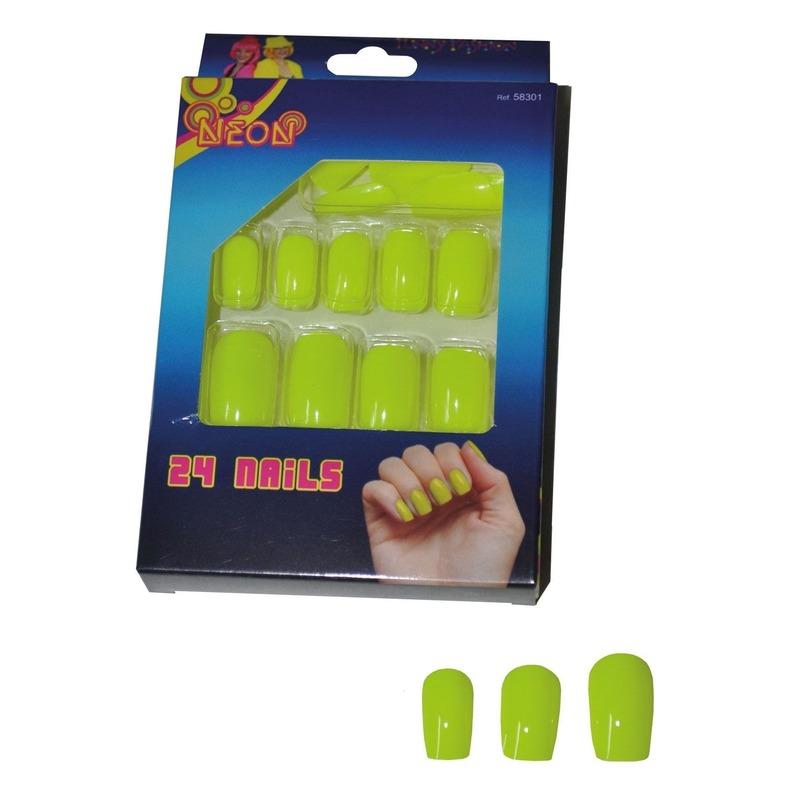 Image of 24 gele neon kunstnagels