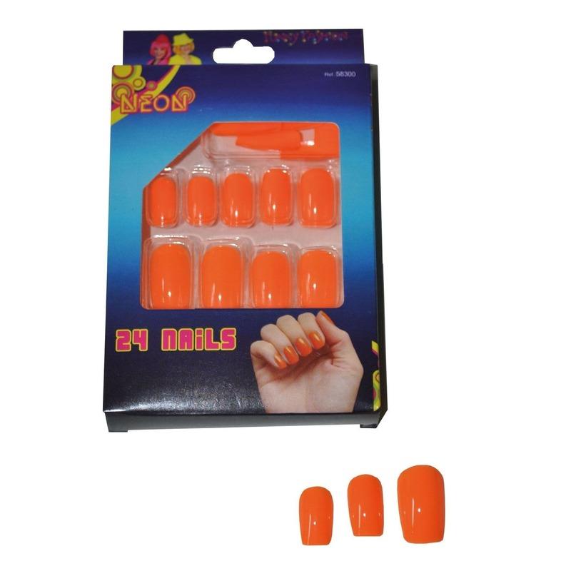 Image of 24 oranje neon kunstnagels