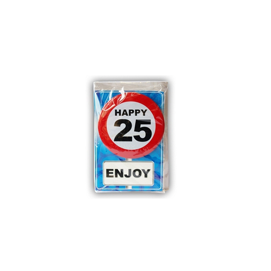 Image of 25 jaar ansichtkaart met button