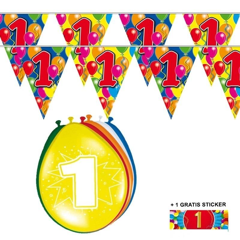 Image of 2x 1 jaar vlaggenlijn + ballonnen