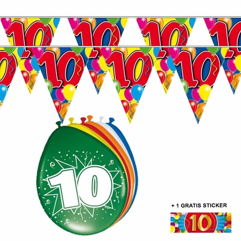 Image of 2x 10 jaar vlaggenlijn + ballonnen