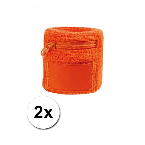 Image of 2x Polsbanden met rits oranje