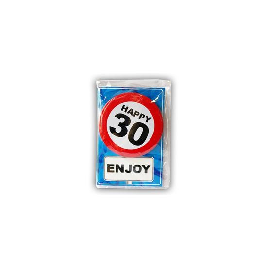 Image of 30 jaar ansichtkaart met button