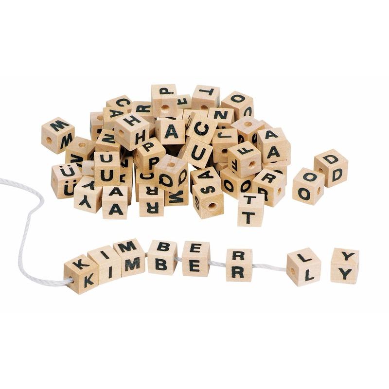 Image of 300 houten letter steentjes om kettingen te maken