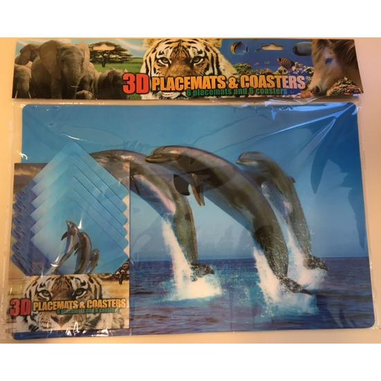Image of 3D dolfijnen placemats en onderzetters