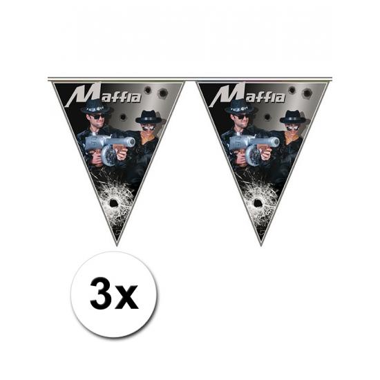 Image of 3x Feestversiering vlaggenlijn Maffia