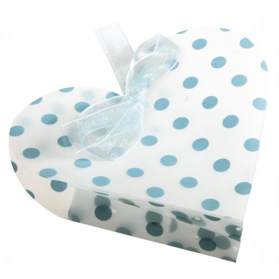 Image of 4 geschenkdoosjes wit hart met blauwe stippen