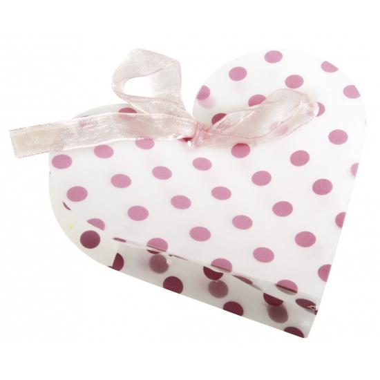 Image of 4 geschenkdoosjes wit hart met roze stippen