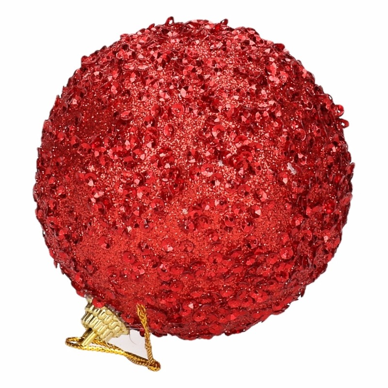 Image of 4 rode kerstballen 7 cm